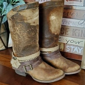 Genuine Leather Buckle Boots